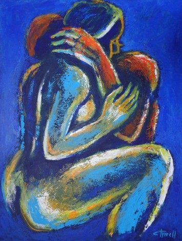 embraced man and woman