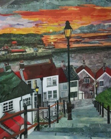 whitby steps seascapes painting art torn paper seaside sunset houses cottages lamp lamplight sky steps