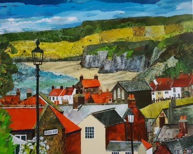 robin hoods bay whitby seascape art painting roof tops sea art for your home