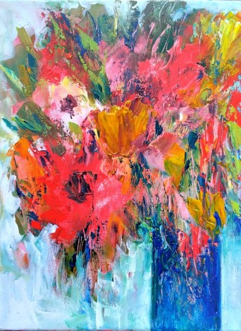 Autumn Flowers in a Blue Vase