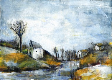 End of Winter acrylic landscape painting