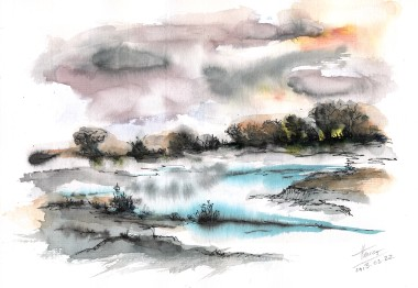 Frozen River watercolor painting