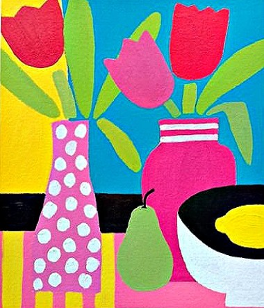 Still Life with 3 Tulips