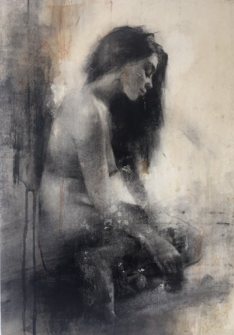 Nude drawing, artwork on wooden panel