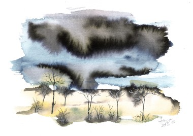 Trees in Heavy Storm - original watercolor and ink on paper