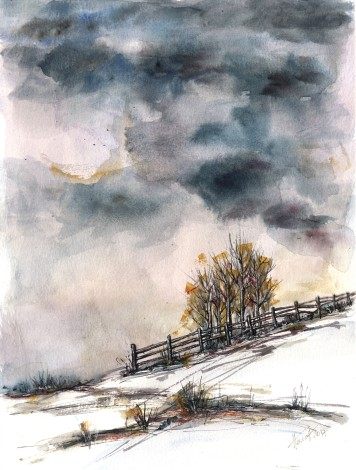 Winter Is Here - watercolor and ink painting