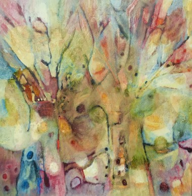 Wild,nature,colourful,multi coloured,trees,spirits,green,blue,pink,yellow,oil,painting,small,canvas,caia,caia matheson,landscape,trees