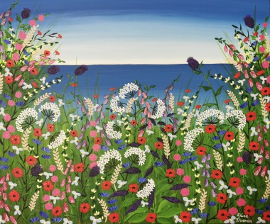 Contemporary sea meadow flowers painting