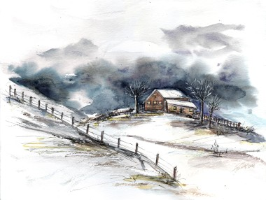 Winter Clouds watercolor painting on paper
