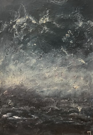 Abstract acrylic seascape on board