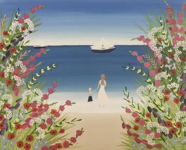 Beach flowers painting