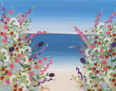 Contemporary beach meadow flowers painting