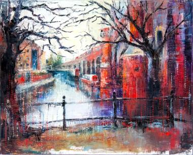 city, manchester, street, light, tram, lockdown, rain, people, urban, buildings, umbrella, raining, night, bridge, train, tube, river, boat, trees