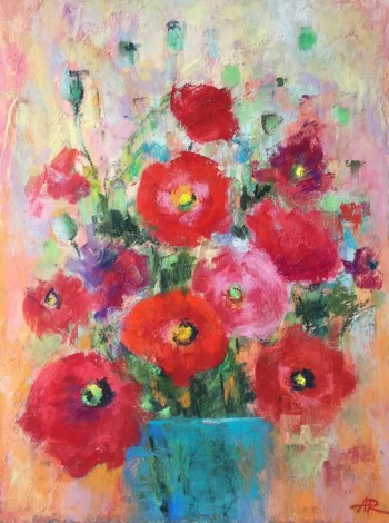 poppies,flowers,red,bouquet,still life,pastel,drawing
