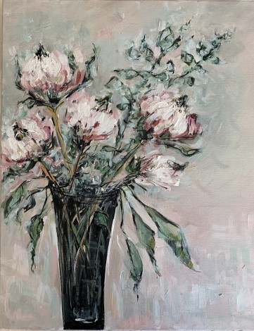 King Protea Flower South African native flower Traditional Art