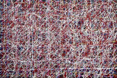 abstract painting in the style of Jackson Pollock, red