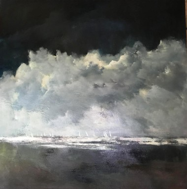 Seascape clouds Turner style waves yachts