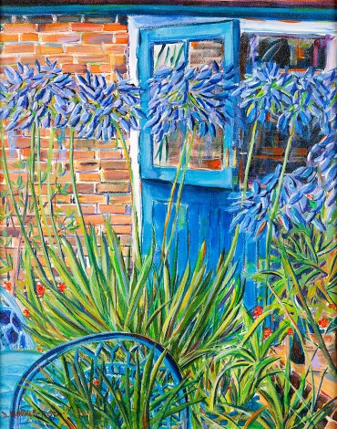 AGAPANTHUS BY THE BLUE DOOR painting for sale