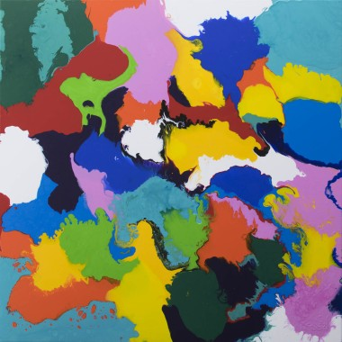 patchwork of colours painting