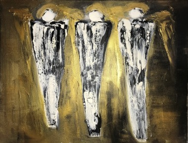 Angels contemporary gold black figures