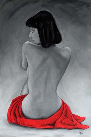Red robed nude woman