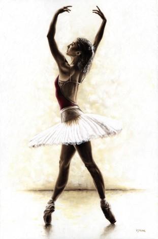 Fine art contemporary original oil painting f a beautiful ballerina dancer