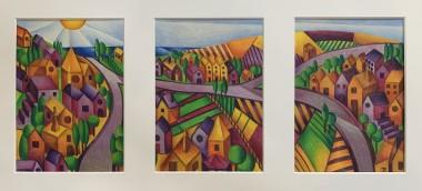Unframed triptych