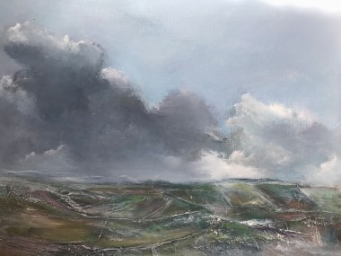 Landscape impressionist fields clouds sky England Cornwall