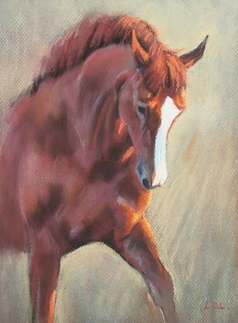 Chestnut Dressage Horse Painting