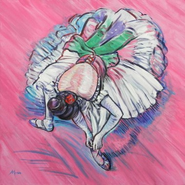 Seated impressionistic ballerina against a pink background