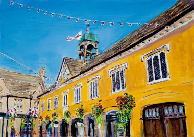 BASKETS AND BUNTING, TETBURY MARKET HALL painting for sale