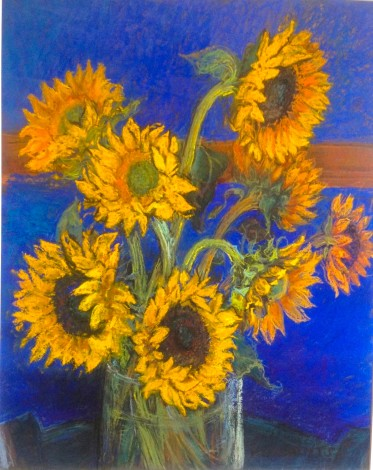 main view sunflowers with cobalt