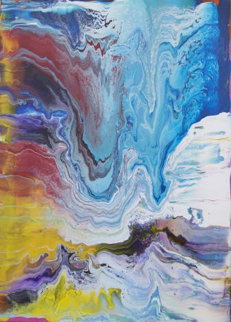 Blue ice mountain abstract painting
