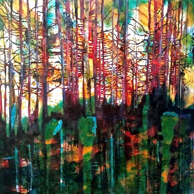 Trees, landscape, contemporary, oil, large, canvas, caia, caia matheson, painting, green, yellow, blue, red, white