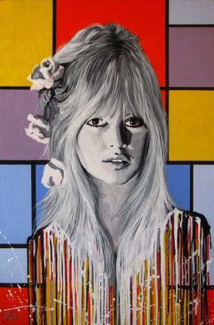 Brigitte Bardot Melting on a Mondrian Painting