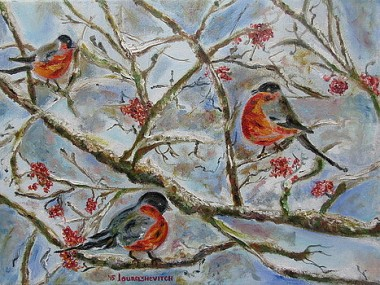 Winter birds on the snowy branches