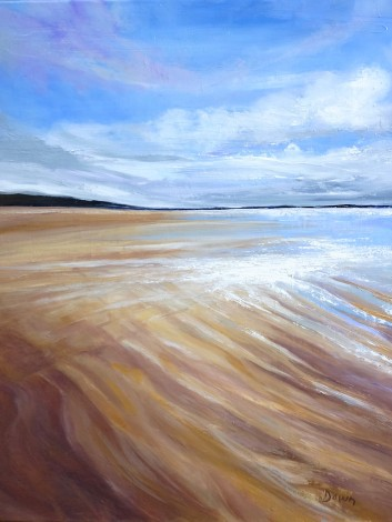Beach oil painting sand light Dawn Rodger clouds summer impressionism