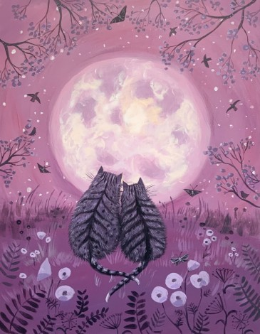 Cats With Strawberry Moon