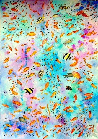 Tropical fish large watercolour and ink