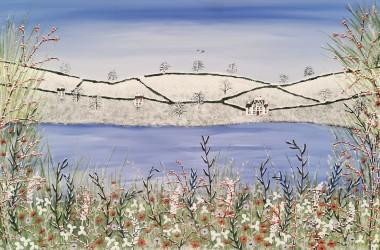 Contemporary winter lake painting