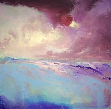 abstract landscape seascape sky sea land clouds beach sun moon