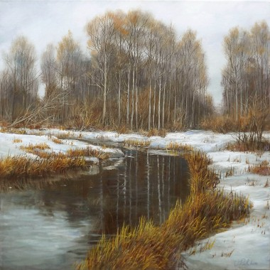 Landscape cold winter day