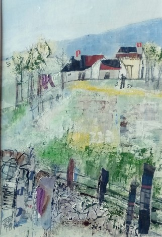 mixed media painting of the countryside