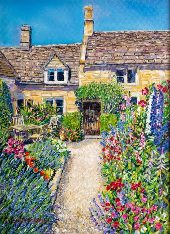 COUNTRY COTTAGE GARDEN painting for sale