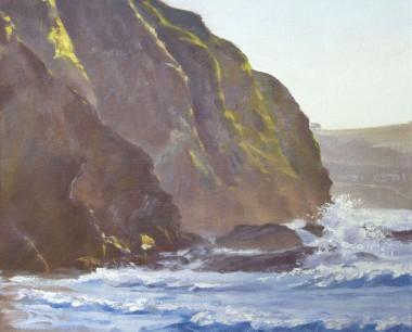 Crashing waves, Llangrannog beach, welsh coast
