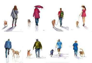 best friends, daily life, man's best friend, bird, dog, lifestyle, parrot, people, pet, walking, boy, girl, lady, woman, art, paintings, watercolors