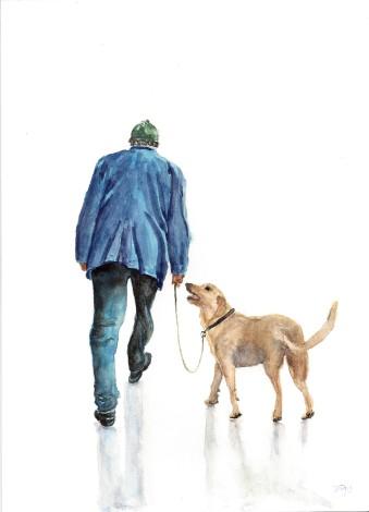 best friends, daily life, man's best friend, bird, dog, lifestyle, parrot, people, pet, walking