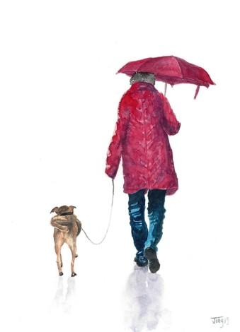 best friend, daily life, daily walk, man's best friend, animal, dog, girl, people, walking, woman, painting, art, JingTian, JingArt,