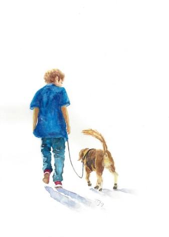 best friends, daily life, man's best friend, bird, dog, lifestyle, parrot, people, pet, walking, boy, child,