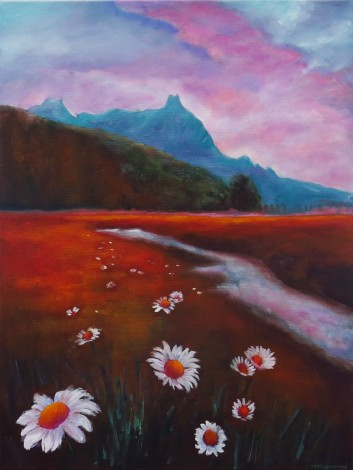 canvas oil painting of a landscape by maureen greenwood